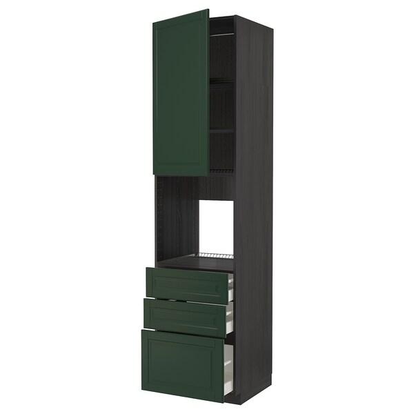 METOD / MAXIMERA Høyskap for ovn med dør/3 skuffer, svart/Bodbyn mørk grønn, 60x60x240 cm