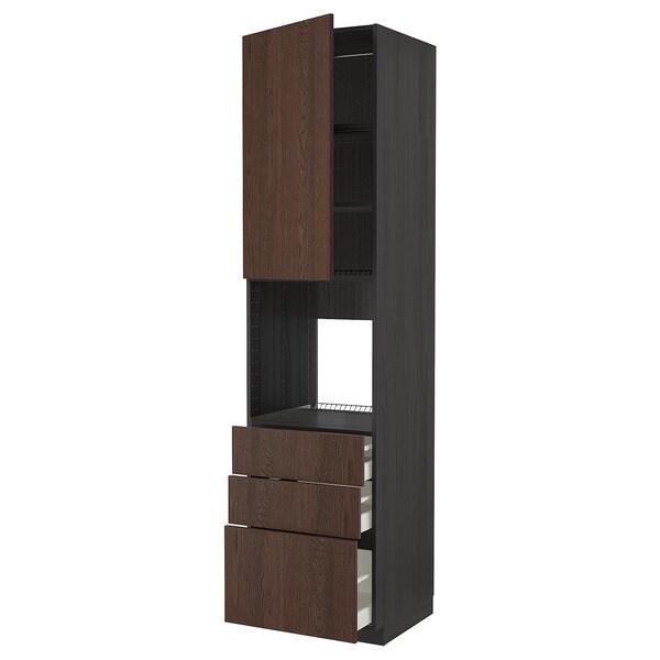 METOD / MAXIMERA Høyskap for ovn med dør/3 skuffer, svart/Sinarp brun, 60x60x240 cm