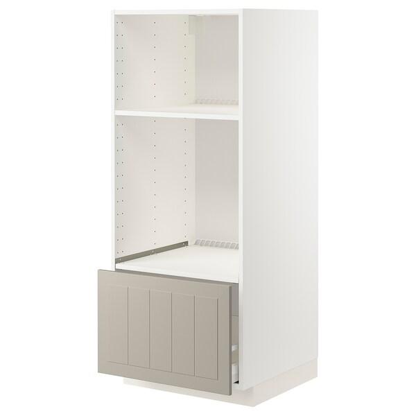 METOD / MAXIMERA Høyskap for ovn/mikro m skuff, hvit/Stensund beige, 60x60x140 cm