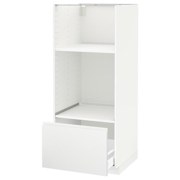 METOD / MAXIMERA Høyskap for ovn/mikro m skuff, hvit/Voxtorp matt hvit, 60x60x140 cm