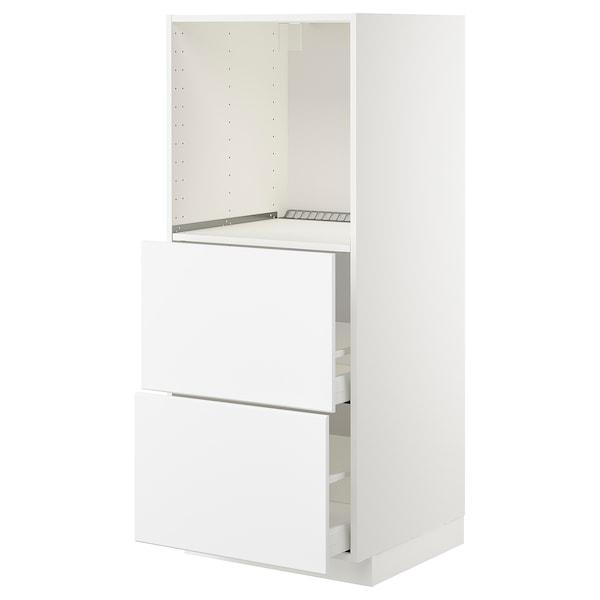 METOD / MAXIMERA Høyskap med 2 skuffer for ovn, hvit/Kungsbacka matt hvit, 60x60x140 cm
