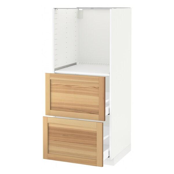 METOD / MAXIMERA Høyskap med 2 skuffer for ovn, hvit/Torhamn ask, 60x60x140 cm
