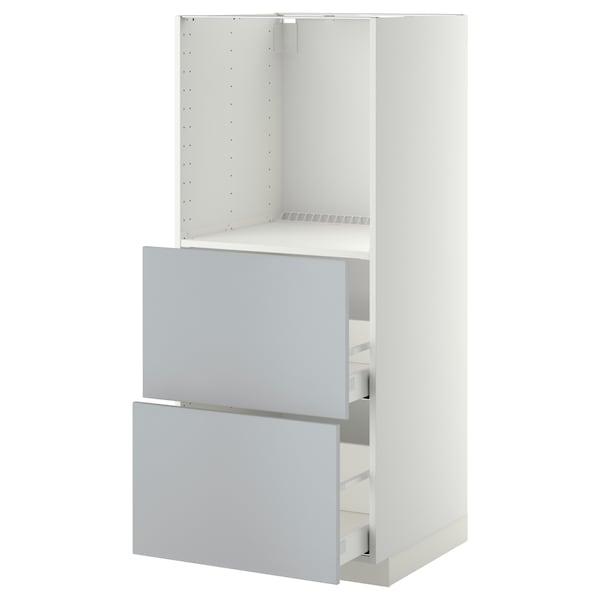 METOD / MAXIMERA Høyskap med 2 skuffer for ovn, hvit/Veddinge grå, 60x60x140 cm