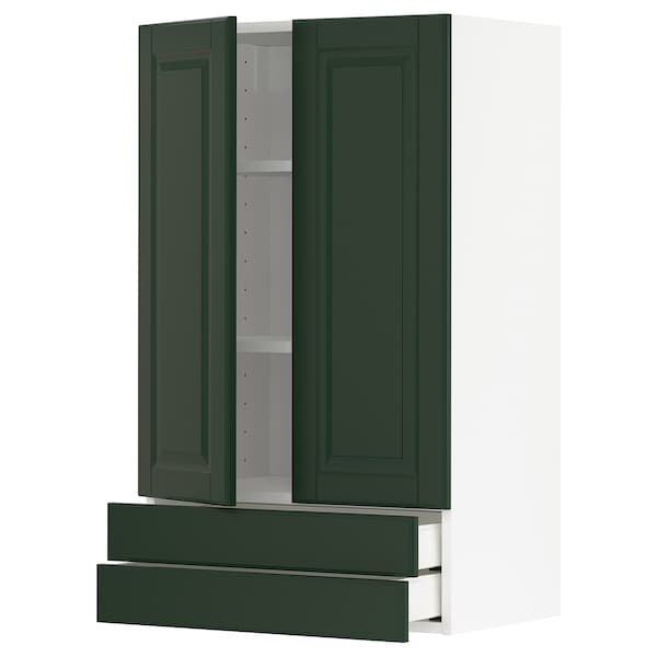 METOD / MAXIMERA Veggskap m 2 dører/2 skuffer, hvit/Bodbyn mørk grønn, 60x100 cm