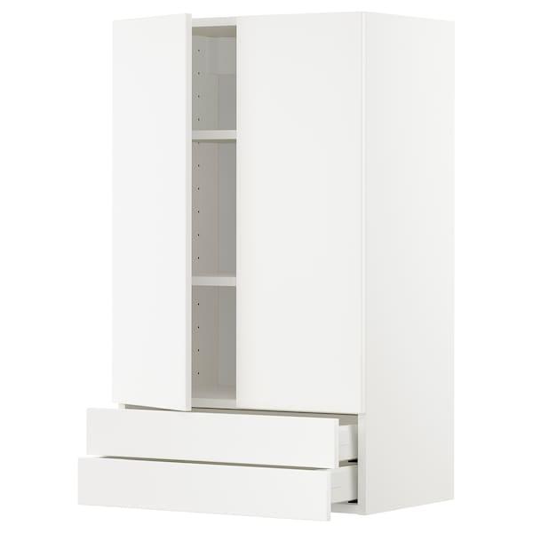 METOD / MAXIMERA Veggskap m 2 dører/2 skuffer, hvit/Veddinge hvit, 60x100 cm