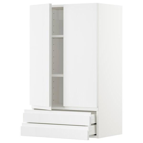 METOD / MAXIMERA Veggskap m 2 dører/2 skuffer, hvit/Voxtorp høyglanset/hvit, 60x100 cm