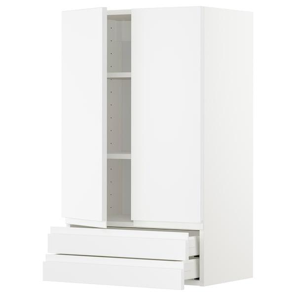 METOD / MAXIMERA Veggskap m 2 dører/2 skuffer, hvit/Voxtorp matt hvit, 60x100 cm