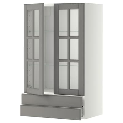 METOD / MAXIMERA Veggskap m 2 vitrinedører/2 skuffer, hvit/Bodbyn grå, 60x100 cm