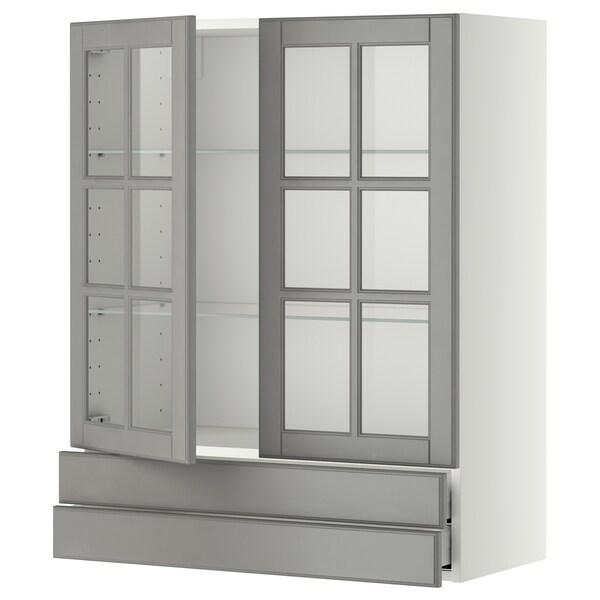 METOD / MAXIMERA Veggskap m 2 vitrinedører/2 skuffer, hvit/Bodbyn grå, 80x100 cm
