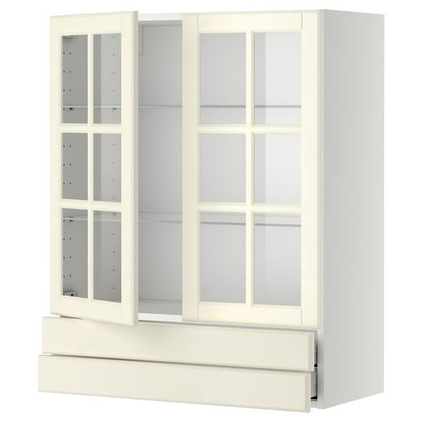 METOD / MAXIMERA veggskap m 2 vitrinedører/2 skuffer hvit/Bodbyn offwhite 80.0 cm 38.9 cm 100.0 cm