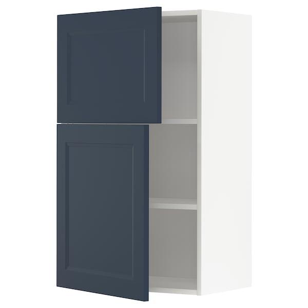 METOD Veggskap m hyller/2 dører, hvit Axstad/matt blå, 60x100 cm