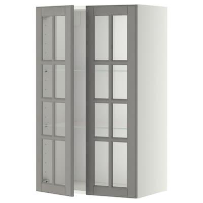 METOD Veggskap m hyller/2 vitrinedører, hvit/Bodbyn grå, 60x100 cm