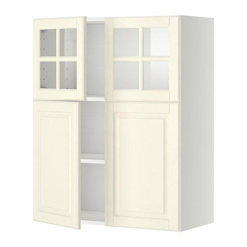 Metod veggskap m hyller/2 d/2 vitrined   hvit, bodbyn offwhite   ikea