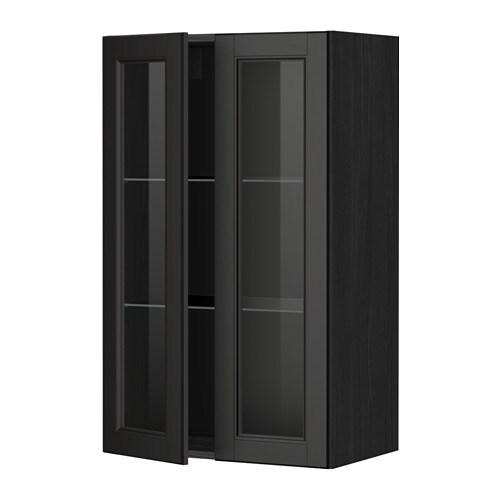 METOD Veggskap m hyller/2 vitrined?rer IKEA Du kan tilpasse avstanden ...