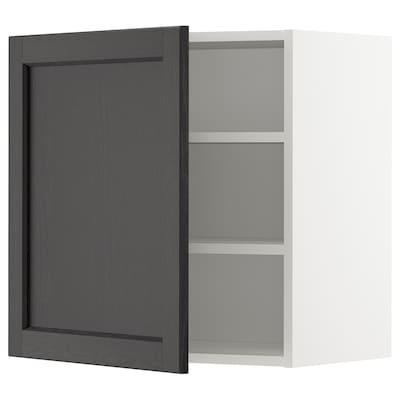 METOD Veggskap med hylleplater, hvit/Lerhyttan svartbeiset, 60x60 cm