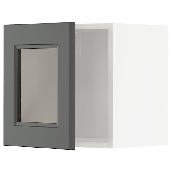 METOD Veggskap med vitrinedør, hvit/Axstad mørk grå, 40x40 cm