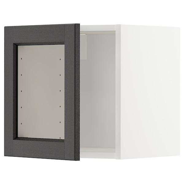 METOD Veggskap med vitrinedør, hvit/Lerhyttan svartbeiset, 40x40 cm