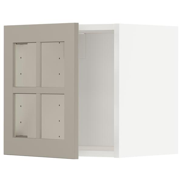 METOD Veggskap med vitrinedør, hvit/Stensund beige, 40x40 cm