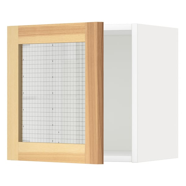 METOD Veggskap med vitrinedør, hvit/Torhamn ask, 40x40 cm