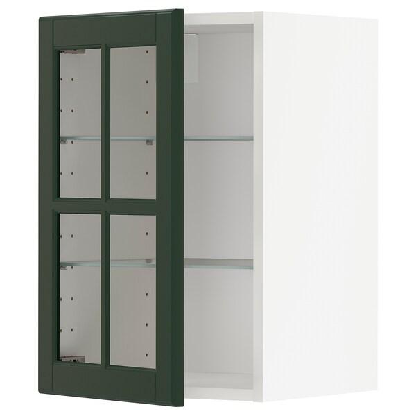 METOD veggskap m hyller/vitrinedør hvit/Bodbyn mørk grønn 40.0 cm 38.9 cm 60.0 cm