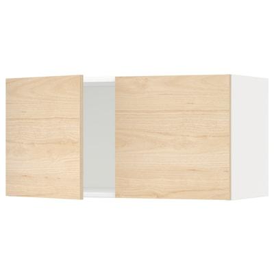 METOD veggskap med 2 dører hvit/Askersund lyst askemønster 80.0 cm 38.6 cm 40.0 cm