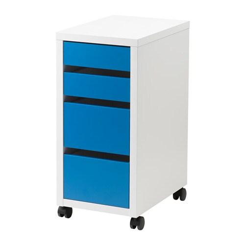 MICKE Skuffeseksjon på hjul hvit blå IKEA