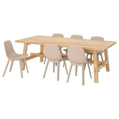 MÖCKELBY / ODGER Bord og 6 stoler, eik/hvit/beige, 235x100 cm