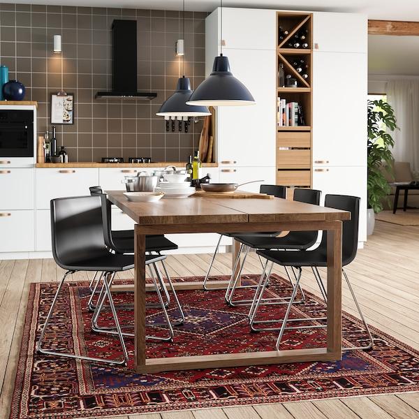 MÖRBYLÅNGA Bord, eikefiner brunbeiset, 220x100 cm