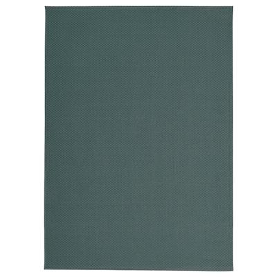 MORUM Teppe flatvevd, inne/ute, grå/turkis, 160x230 cm