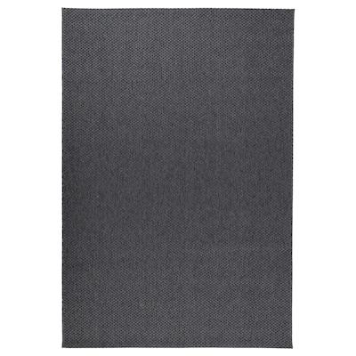 MORUM Teppe flatvevd, inne/ute, mørk grå, 160x230 cm
