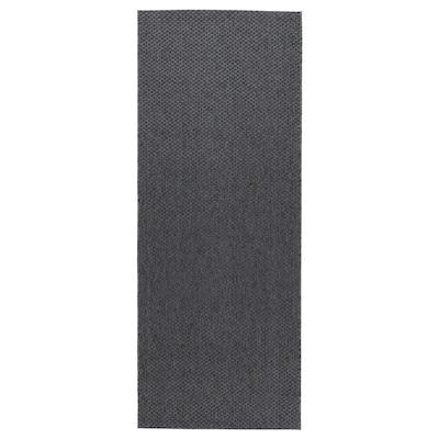 MORUM Teppe flatvevd, inne/ute, mørk grå, 80x200 cm
