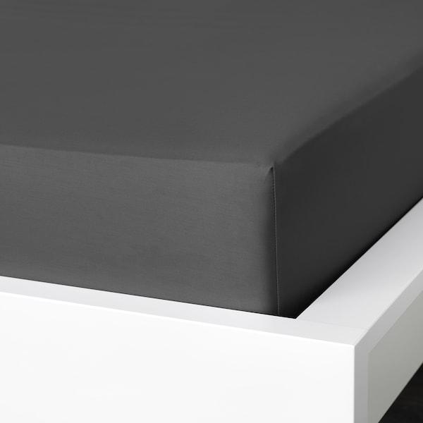 NATTJASMIN Laken, fasongsydd, mørk grå, 180x200 cm