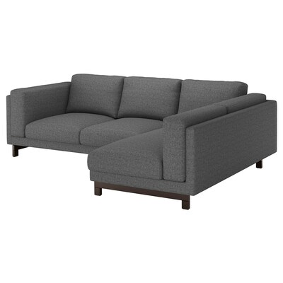 NOCKEBY 3-seters sofa, med sjeselong, høyre/Lejde mørk grå / tre