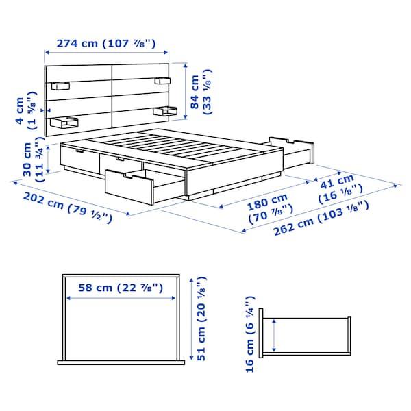 NORDLI Seng med oppbevaring og hodegavl, antrasitt, 180x200 cm