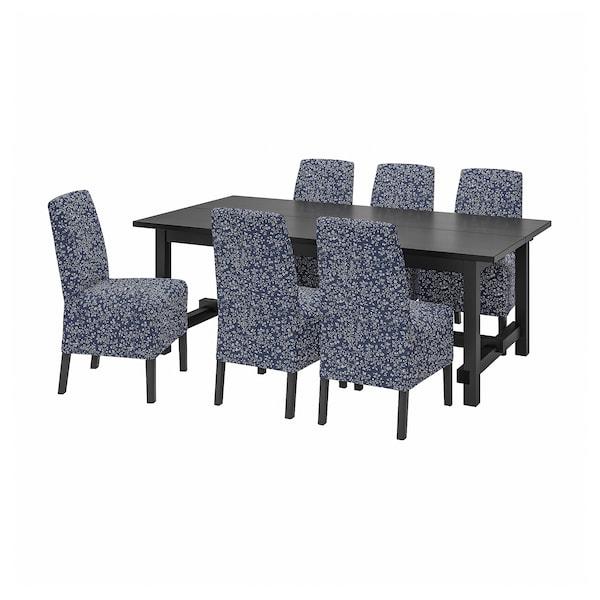NORDVIKEN / BERGMUND Bord og 6 stoler, svart/Ryrane mørk blå, 210/289 cm