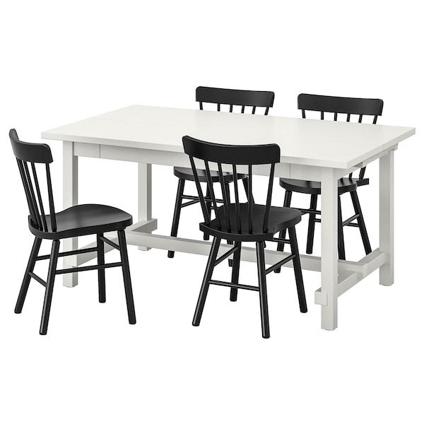 NORDVIKEN / NORRARYD Bord og 4 stoler, hvit/svart, 152/223x95 cm
