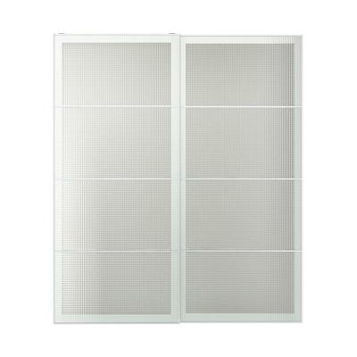 NYKIRKE Skyvedører par, frostet glass, rutemønster, 200x236 cm