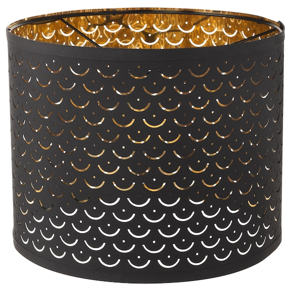 NYMÖ Lampeskjerm, svart/messingfarget, 32 cm