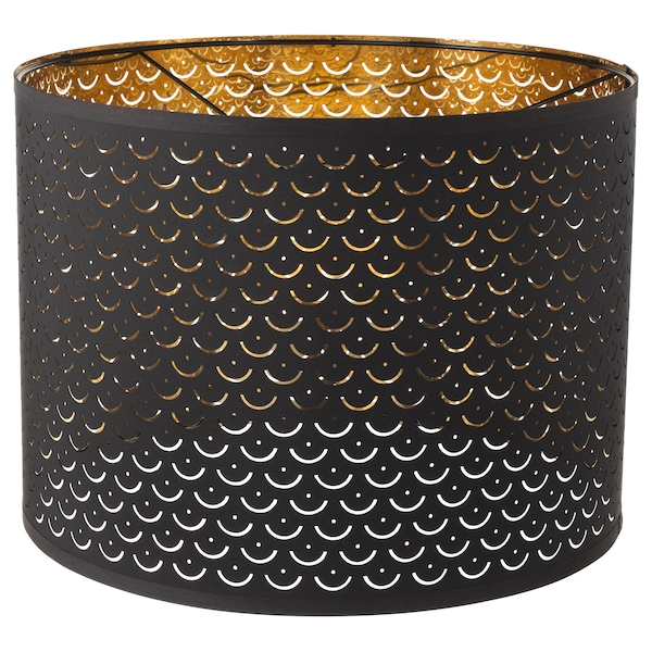 NYMÖ Lampeskjerm, svart/messingfarget, 44 cm