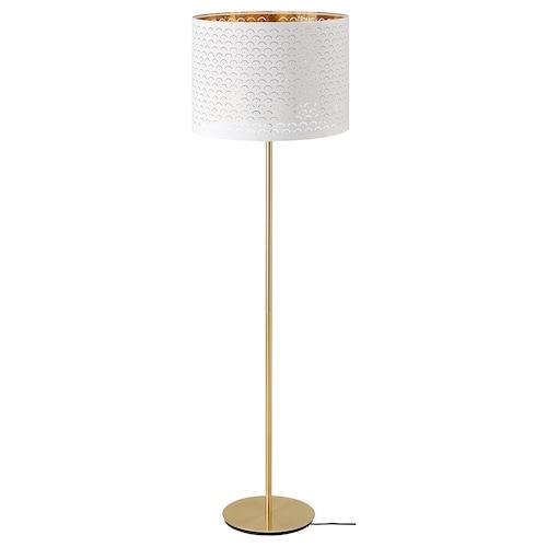 NYMÖ / SKAFTET gulvlampe hvit messing/messing 44 cm 29 cm