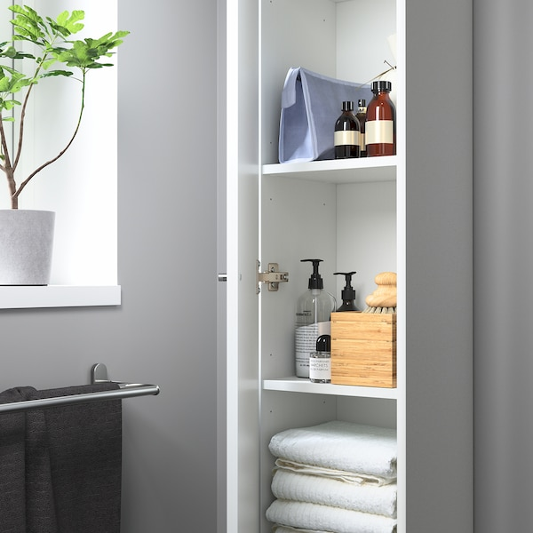 NYSJÖN / BJÖRKÅN Baderomsmøbler, 6 deler, hvit/Pilkån blandebatteri, 54x40x98 cm