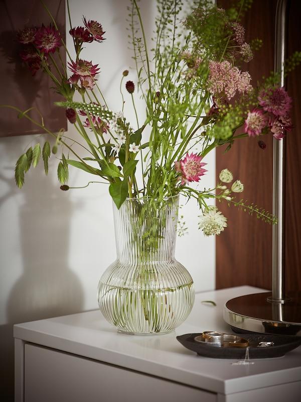 PÅDRAG Vase, klart glass, 17 cm