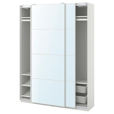 PAX / AULI garderobekombinasjon hvit/speil 150.0 cm 44.0 cm 201.2 cm