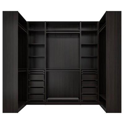 PAX Garderobeskap, hjørneløsning, brunsvart, 113/276/113x236 cm