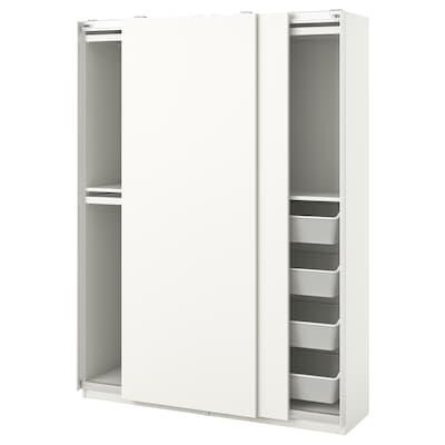 PAX / HASVIK Garderobekombinasjon, hvit, 150x44x201 cm