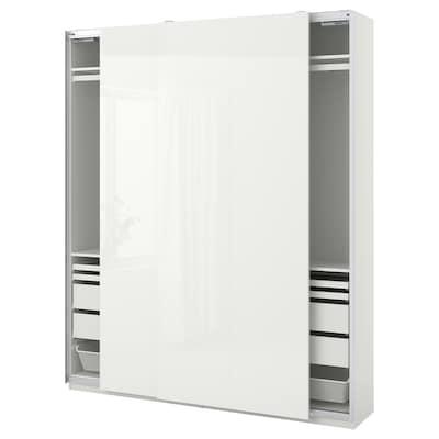 PAX / HASVIK garderobekombinasjon hvit/høyglans hvit 200.0 cm 44.0 cm 236.4 cm