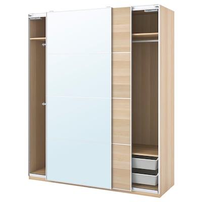 PAX / MEHAMN/AULI garderobekombinasjon hvitbeiset eikemønster/speil 200.0 cm 66.0 cm 236.4 cm