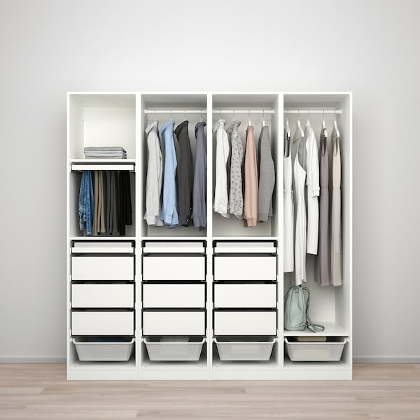 PAX / REINSVOLL/VIKEDAL Garderobekombinasjon, hvit/gråbeige speil, 200x60x201 cm