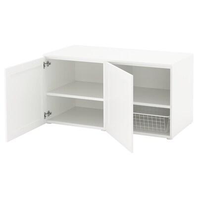 PLATSA Benk, hvit/Sannidal hvit, 120x57x63 cm