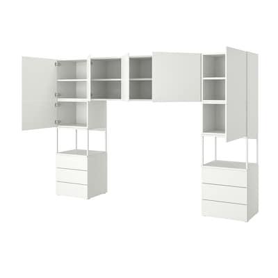 PLATSA Garderobe med 7 dører og 6 skuffer, hvit/Fonnes hvit, 300x42x201 cm